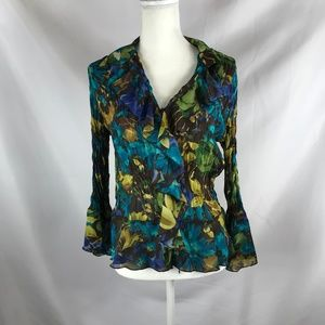 SUNNY LEIGH GREEN/BLUE FLORAL PRINT BLOUSE SIZE M